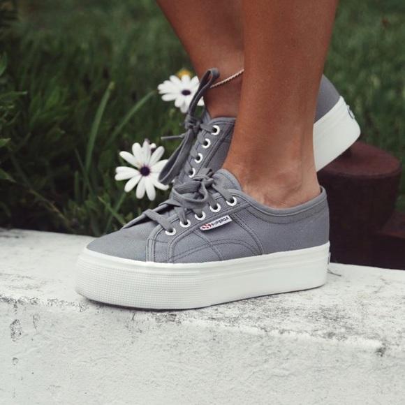 Superga Greygray Platform Sneakers Size
